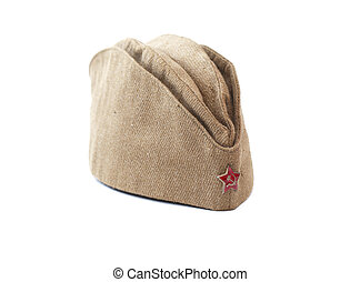 USSR Garrison Cap - World War II Soviet soldier garrison cap...