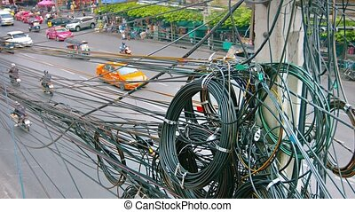 Messy Utility Transmission Lines on a Pole in Asia - Video...