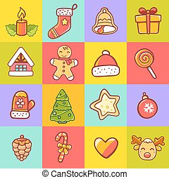 Vector illustration of set of christmas items on colorful...