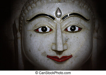 Jain marble statue - Face of a marble statue in a Jain...