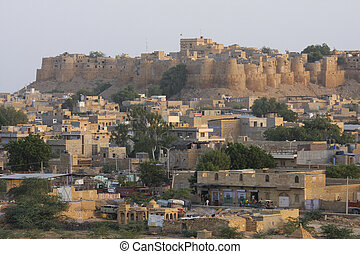 Jaisalmer - View on the old centre of Jaisalmer in Rajasthan