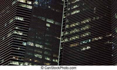 Contemporary Office Towers in a Big City at Night