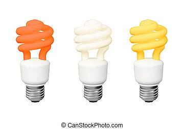 lamps - Set of Energy saving fluorescent lamps Realistic...