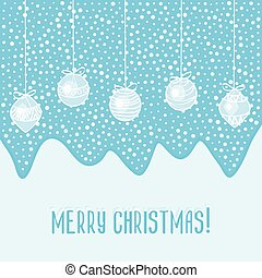 blue card with Christmas balls