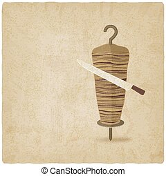 doner kebab with knife old background illustration