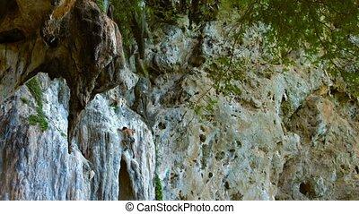 Brave Tourist Climbing a Sheer Limestone Precipice - FullHD...