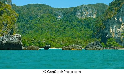 Limestone Cliffs over a Protected Natural Harbor - FullHD...