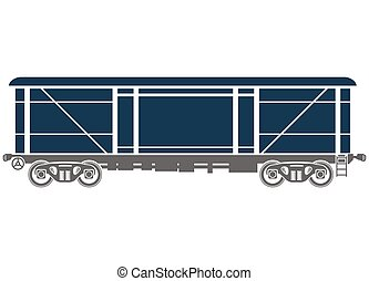 Covered Railway freight car - Vector illustration - Covered...