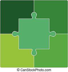 Puzzle set. Vector illustration - Color Puzzle set of five...