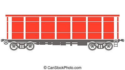 Open Railway freight car - Vector illustration - Open...