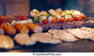 Variety of Delicious, Turkish Foods on a Street Vendor's Barbecue Grill