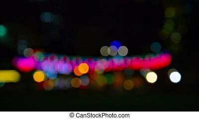 Unfocused City Lights in Bokeh Effect - FullHD video - City...