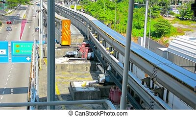 Monorail Track Switching Lines for oncoming Train - FullHD...