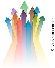 colorful arrows to success