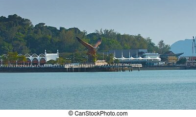 Eagle Sculpture Overlooking the Bay at Langkawi, Malaysia -...