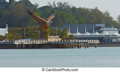 Eagle Statue Overlooking Harbor at Langkawi, Malaysia -...
