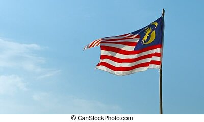 National Flag of Malaysia, Flapping in a Steady Breeze -...