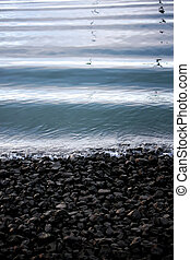 Small wave at shoreline - View of small waves bathing the...