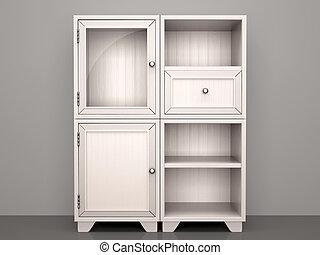 3d illustration of white dresser with open shelves