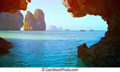 Limestone Formations in the Sea from the Mouth of a Cave -...
