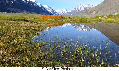 mountain landscape with lake in Altay, Russia