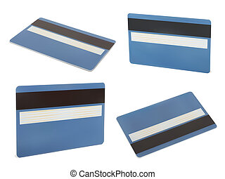 Blue creadit card - Set of Blue creadit card. Isolated on...