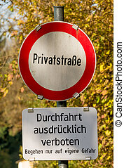 shield private road ban, symbol of prohibitions, privately...