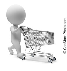 3d small people - cart - 3d small people with a store cart...