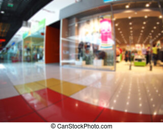 Blurred and out of focus image of the hall shopping mall...