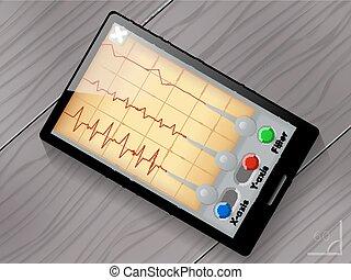 sismógrafo, App, vector, usuario, interfaz,