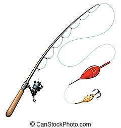 Vector fishing rods. Catch and hobby, sport equipment, fish...