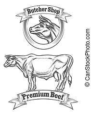 Premium beef meat vector label, butcher emblems or grill BBQ...