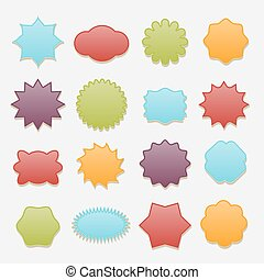 Sticky badges stars and clouds tags vector set