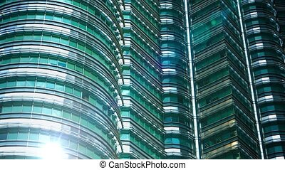 Extreme Zoom View of one of Kuala Lumpurs Petronas Towers -...