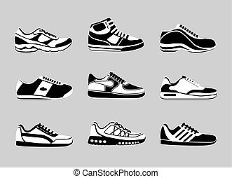 Sneakers icons - Set of sneakers icons. Vogue sport shoe,...