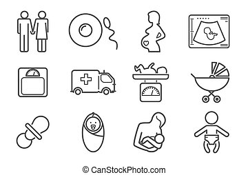 Medicine and pregnancy vector line icons set. Baby and...