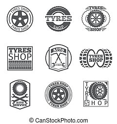 Tyre store logo. Vintage car vector label. Shop and wheel...