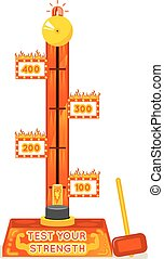 Strength tester. Test your strength amusement game. Vector...