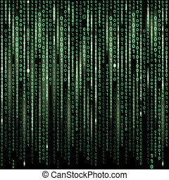 Stream of binary code on screen Abstract vector background...