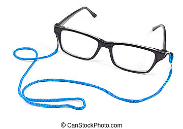 Eyeglasses with blue tape isolated on white