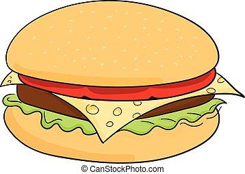 Hamburger food cartoon - Hamburger cartoon doodle hand drawn...
