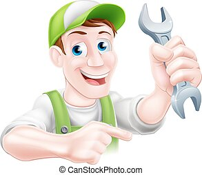 Cartoon Mechanic Pointing - A happy cartoon plumber or...