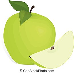 Apple fruit - Apple green fruit doodle hand drawn vector...