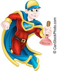 Plumber Super Hero - Cartoon janitor or plumber superhero...
