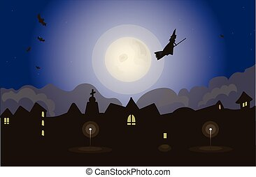 Witch on night sky vector illustration