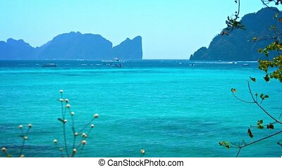 Heavy Boat Traffic at a Tourist Beach in Thailand - Heavy...