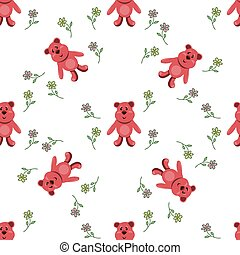 seamless pattern with red bears
