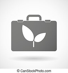 Isolated briefcase icon with a plant
