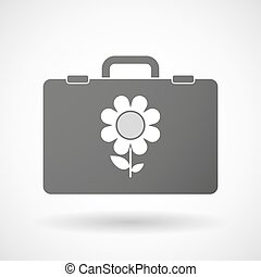 Isolated briefcase icon with a flower