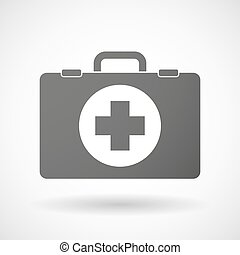 Isolated briefcase icon with a round pharmacy sign -...